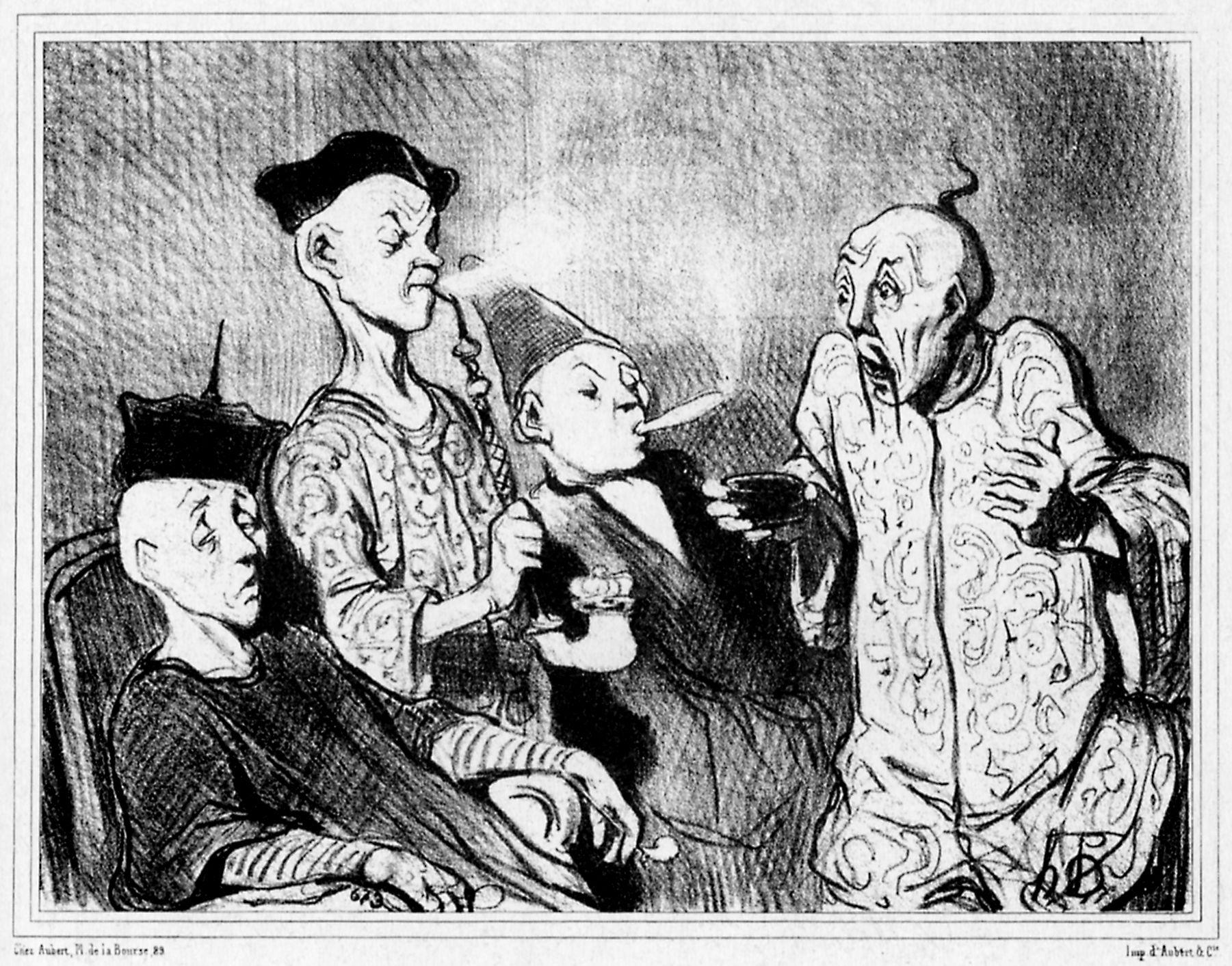 Daumier Honoré - Reise durch China Raucher und Schnupfer