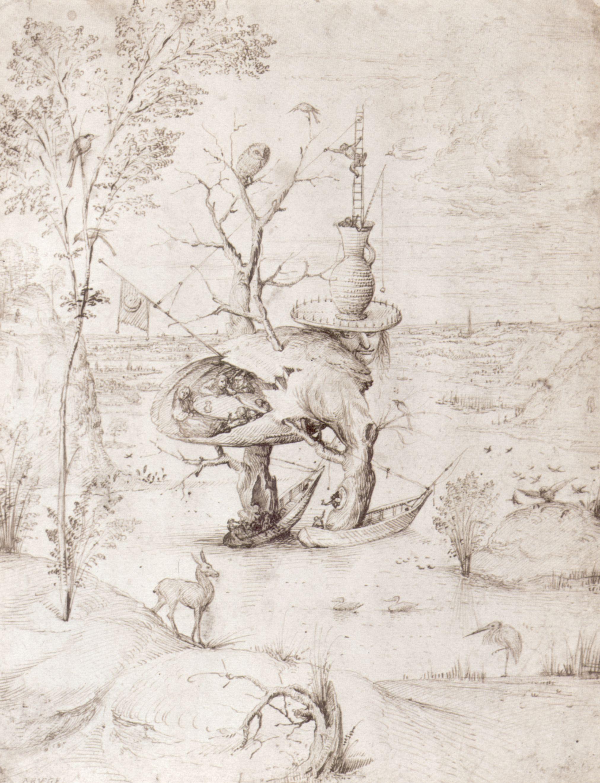Hieronymus Bosch - Baum Mensch in einer Landschaft