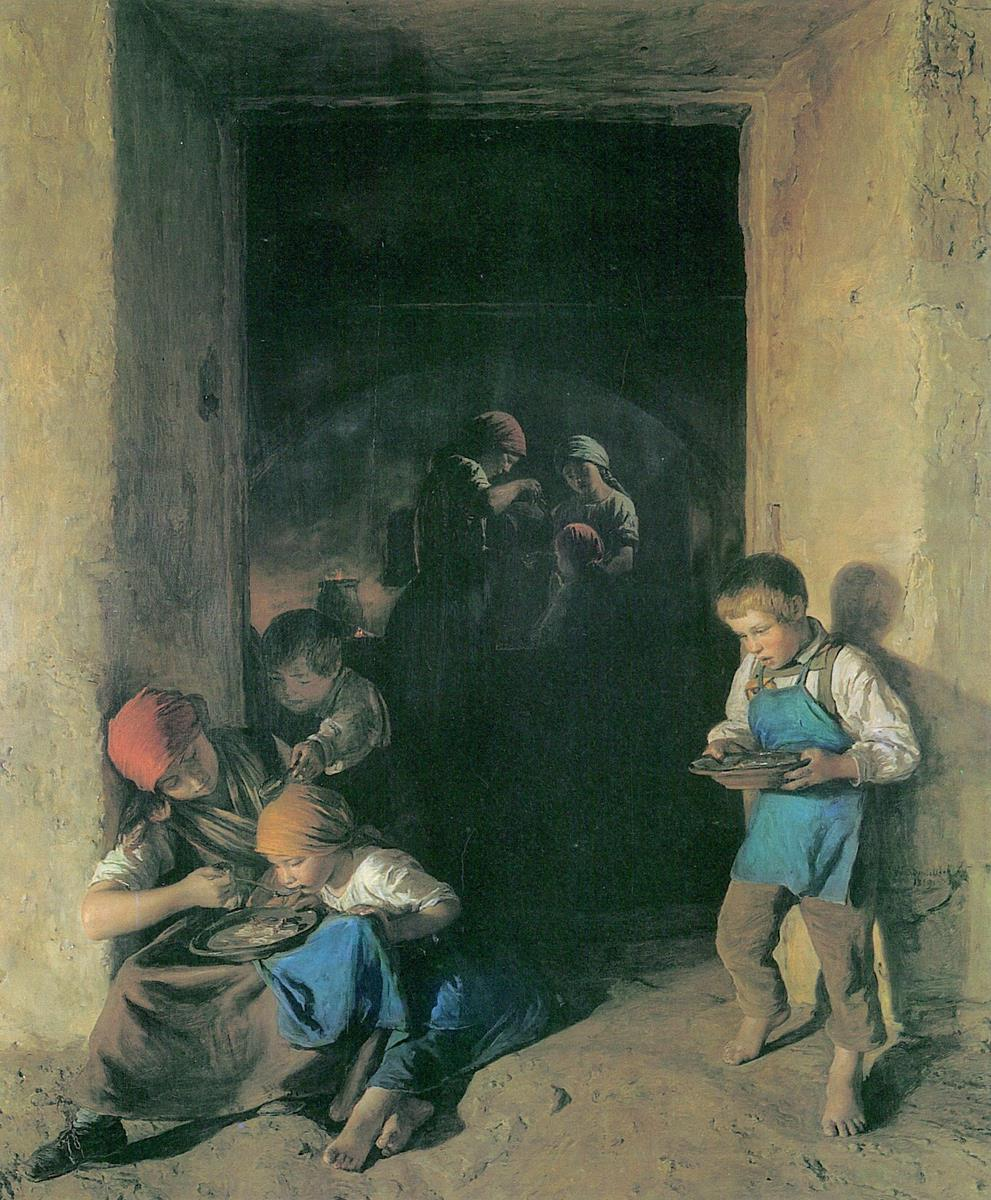 Ferdinand Waldmüller - Kinder erhalten ihr Frühstück
