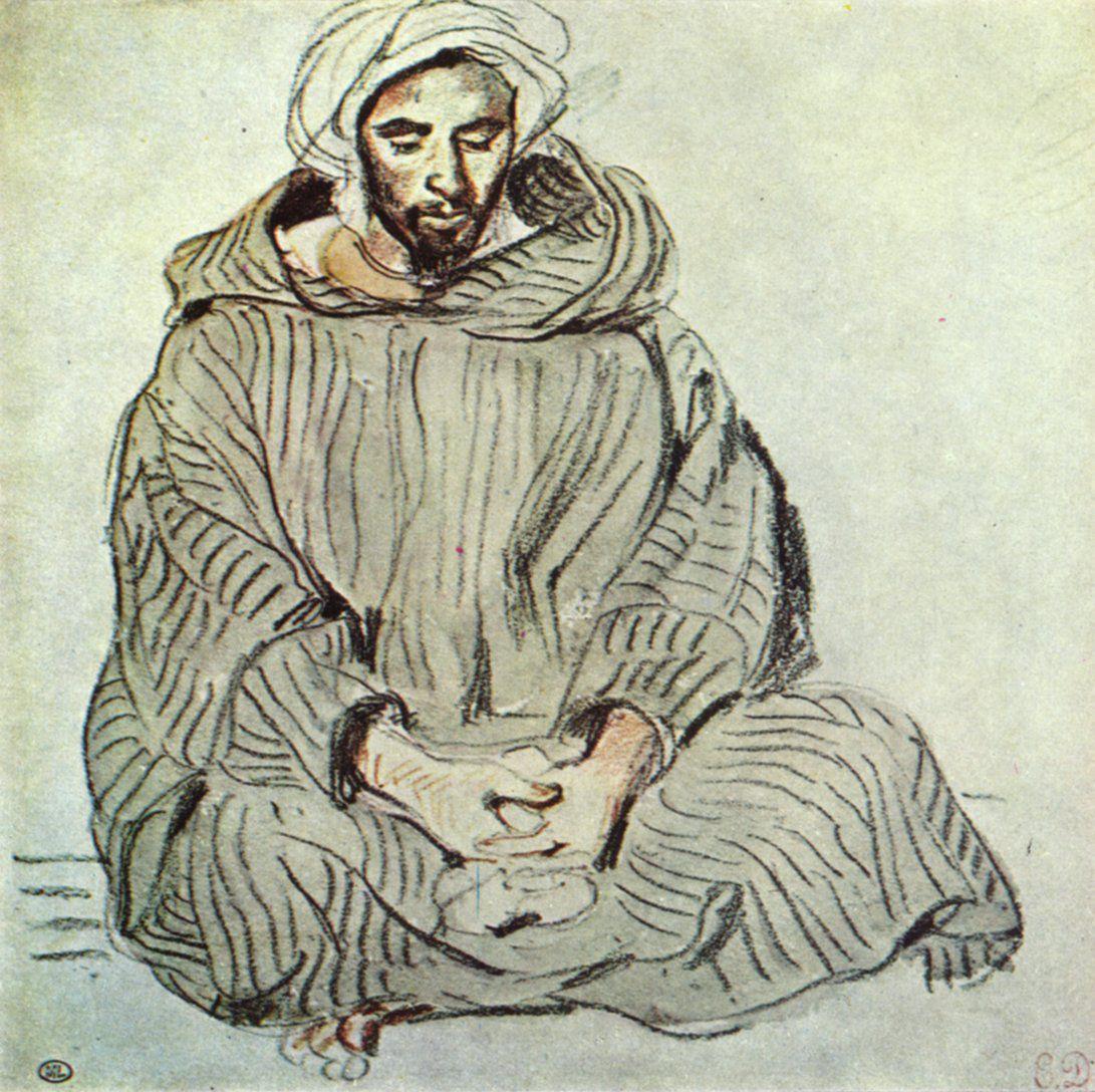 Eugène Ferdinand Victor Delacroix (1798-1863) – Sitzender Araber in Tanger