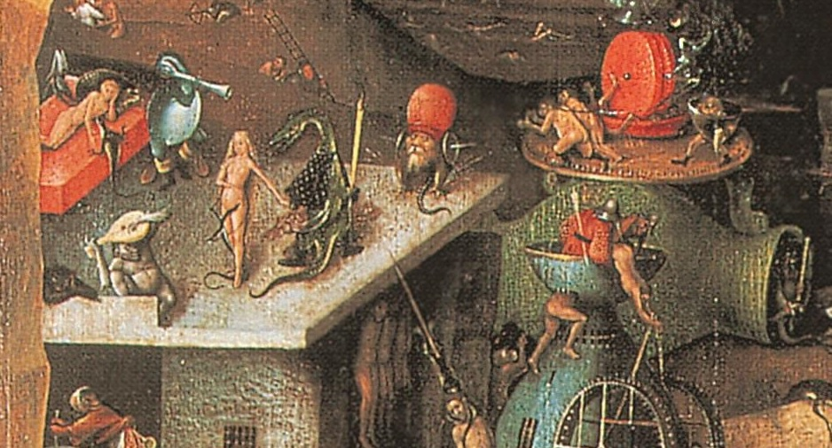 Kröte mit Papstkrone – Ausschnitt aus dem Weltuntergangs-Triptychon