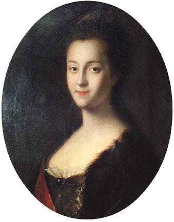 Die 15.-jährigere Sophie Auguste Friederike von Anhalt-Zerbst - spätere Katharnia II.